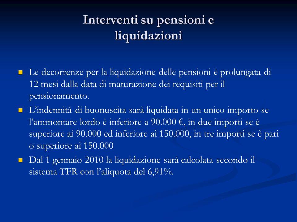 Interventi su pensioni e liquidazioni Le decorrenze per la liquidazione delle pensioni è prolungata di 12 mesi dalla data di maturazione dei requisiti per il pensionamento.