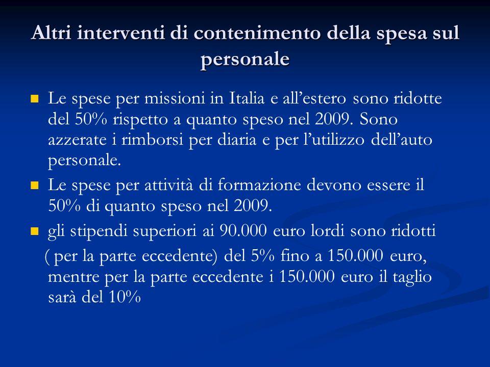 Altri interventi di contenimento della spesa sul personale Le spese per missioni in Italia e allestero sono ridotte del 50% rispetto a quanto speso nel 2009.