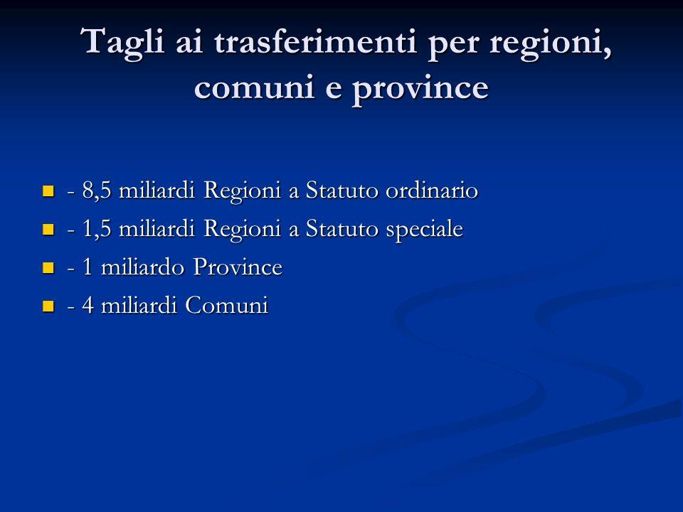 Tagli ai trasferimenti per regioni, comuni e province Tagli ai trasferimenti per regioni, comuni e province - 8,5 miliardi Regioni a Statuto ordinario - 8,5 miliardi Regioni a Statuto ordinario - 1,5 miliardi Regioni a Statuto speciale - 1,5 miliardi Regioni a Statuto speciale - 1 miliardo Province - 1 miliardo Province - 4 miliardi Comuni - 4 miliardi Comuni