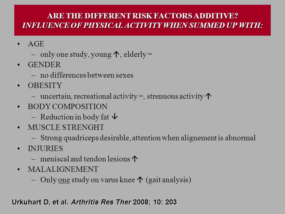 ARE THE DIFFERENT RISK FACTORS ADDITIVE? INFLUENCE OF PHYSICAL ACTIVITY WHEN SUMMED UP WITH: AGE –only one study, young, elderly = GENDER –no differen