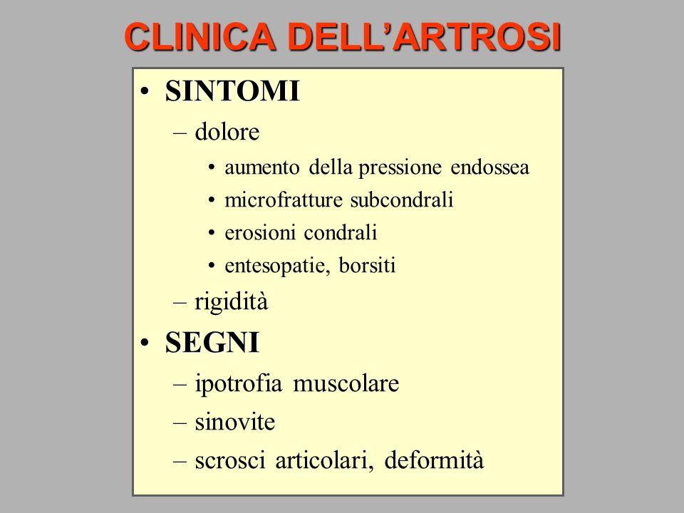 CLINICA DELLARTROSI SINTOMISINTOMI –dolore aumento della pressione endossea microfratture subcondrali erosioni condrali entesopatie, borsiti –rigidità