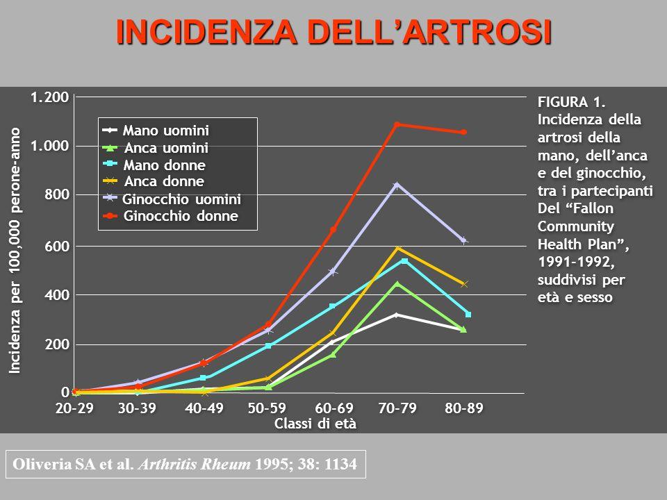 INCIDENZA DELLARTROSI Oliveria SA et al. Arthritis Rheum 1995; 38: 1134 20-29 30-39 40-49 50-59 60-69 70-79 80-89 1.200 1.000 800 600 400 200 0 0 Inci