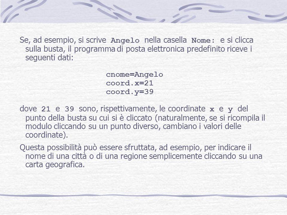 Se, ad esempio, si scrive Angelo nella casella Nome: e si clicca sulla busta, il programma di posta elettronica predefinito riceve i seguenti dati: cn
