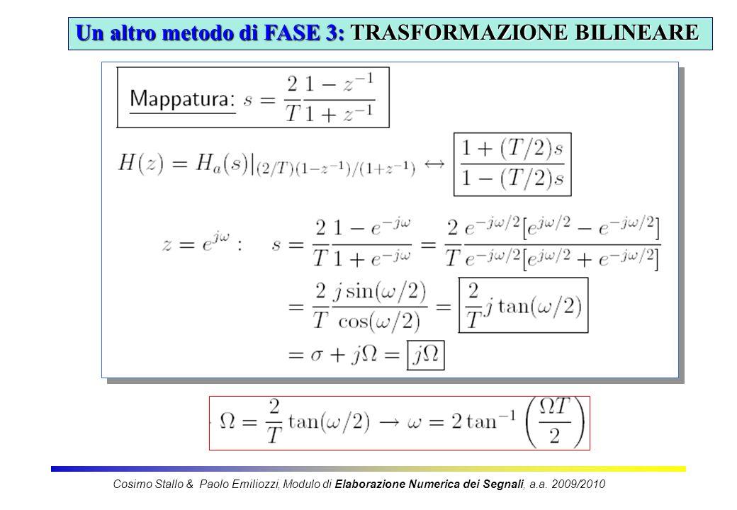 10 Un altro metodo di FASE 3: TRASFORMAZIONE BILINEARE Cosimo Stallo & Paolo Emiliozzi, Modulo di Elaborazione Numerica dei Segnali, a.a. 2009/2010