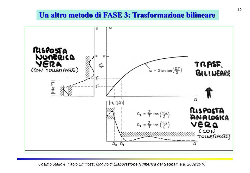 12 Un altro metodo di FASE 3: Trasformazione bilineare Cosimo Stallo & Paolo Emiliozzi, Modulo di Elaborazione Numerica dei Segnali, a.a. 2009/2010