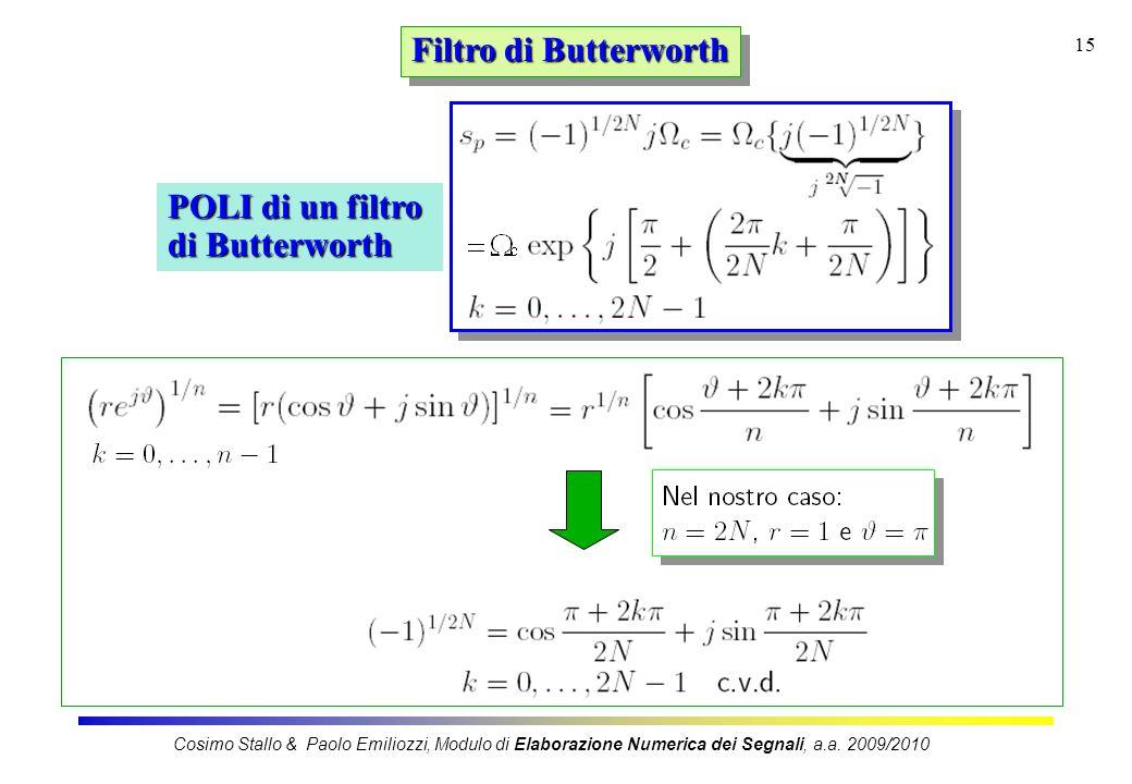 15 Filtro di Butterworth POLI di un filtro di Butterworth Cosimo Stallo & Paolo Emiliozzi, Modulo di Elaborazione Numerica dei Segnali, a.a. 2009/2010