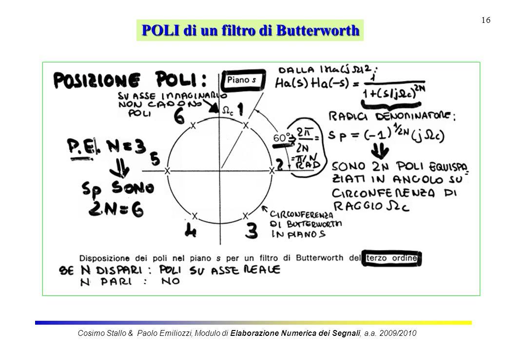 16 POLI di un filtro di Butterworth Cosimo Stallo & Paolo Emiliozzi, Modulo di Elaborazione Numerica dei Segnali, a.a. 2009/2010