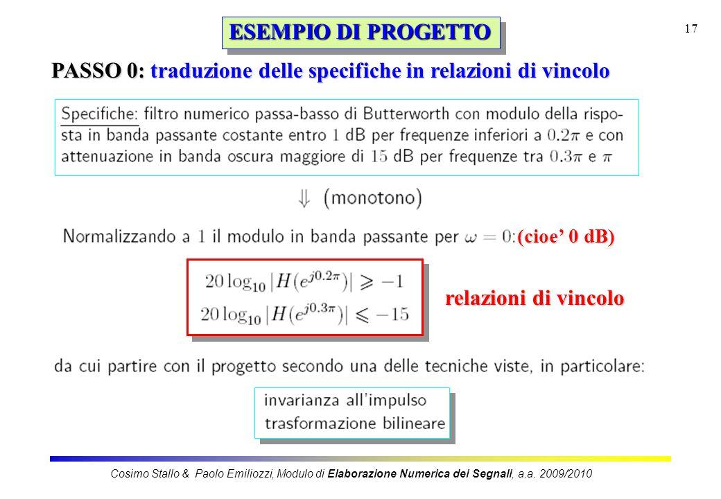 17 ESEMPIO DI PROGETTO PASSO 0: traduzione delle specifiche in relazioni di vincolo (cioe 0 dB) relazioni di vincolo Cosimo Stallo & Paolo Emiliozzi,