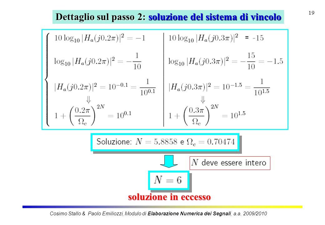 19 Dettaglio sul passo 2: soluzione del sistema di vincolo soluzione in eccesso = Cosimo Stallo & Paolo Emiliozzi, Modulo di Elaborazione Numerica dei