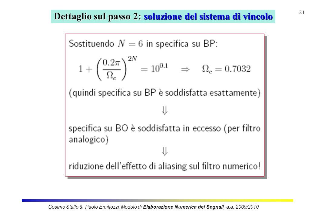 21 Dettaglio sul passo 2: soluzione del sistema di vincolo Cosimo Stallo & Paolo Emiliozzi, Modulo di Elaborazione Numerica dei Segnali, a.a. 2009/201