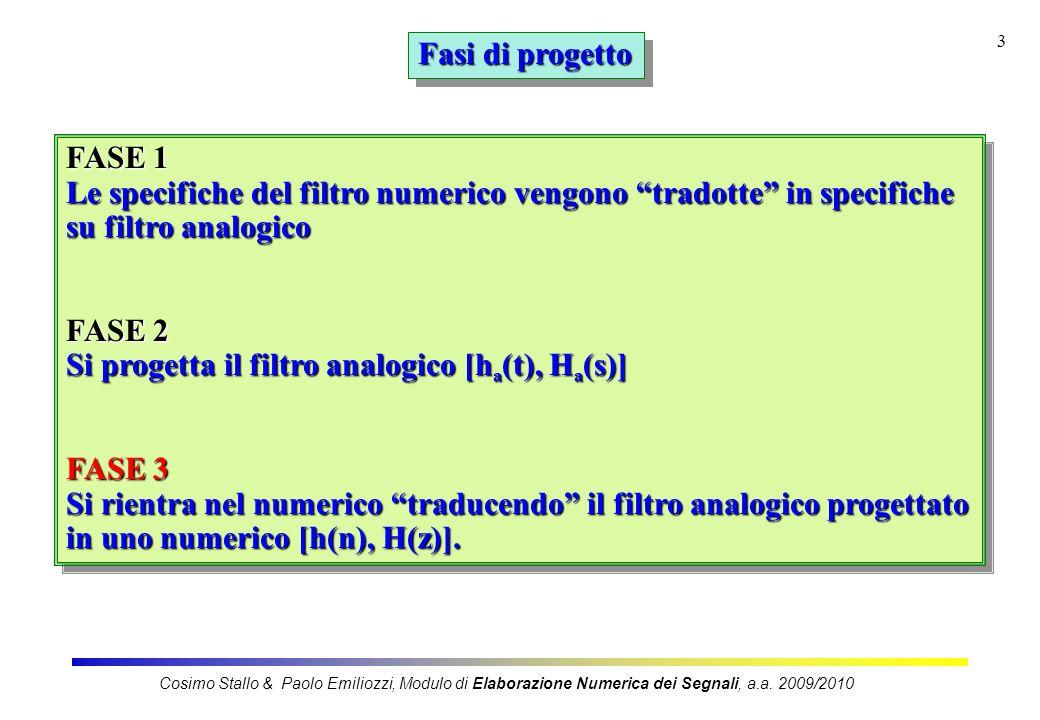 3 Fasi di progetto FASE 1 Le specifiche del filtro numerico vengono tradotte in specifiche su filtro analogico FASE 2 Si progetta il filtro analogico