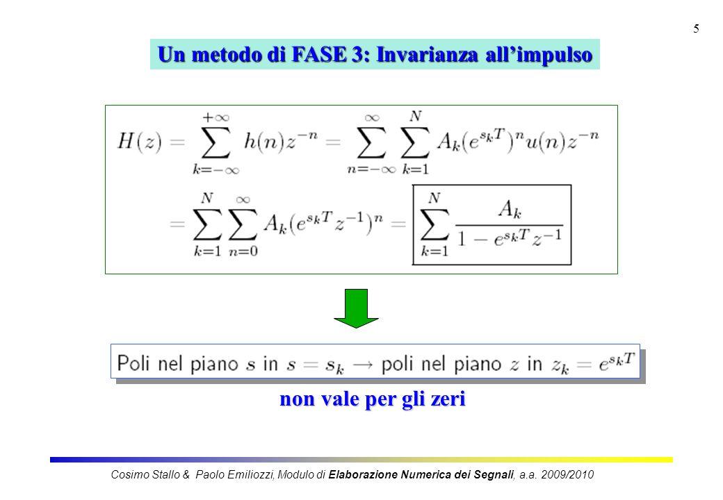 5 Un metodo di FASE 3: Invarianza allimpulso non vale per gli zeri Cosimo Stallo & Paolo Emiliozzi, Modulo di Elaborazione Numerica dei Segnali, a.a.