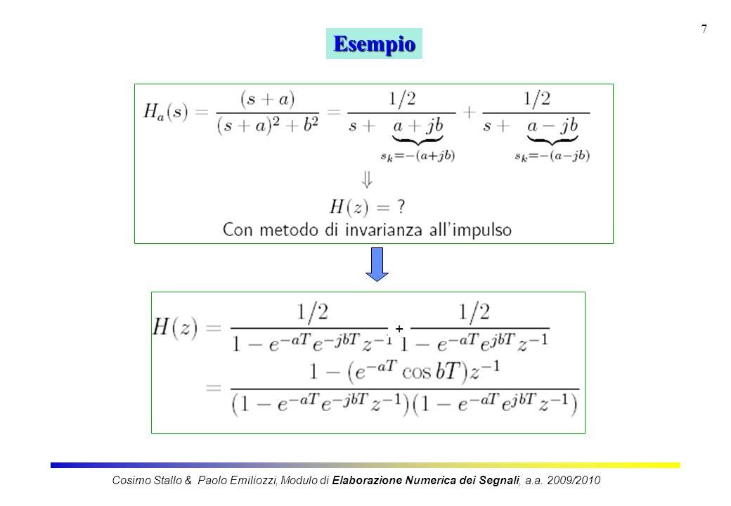 18 Impiego del metodo dellinvarianza allimpulso (InvImp) Cosimo Stallo & Paolo Emiliozzi, Modulo di Elaborazione Numerica dei Segnali, a.a.