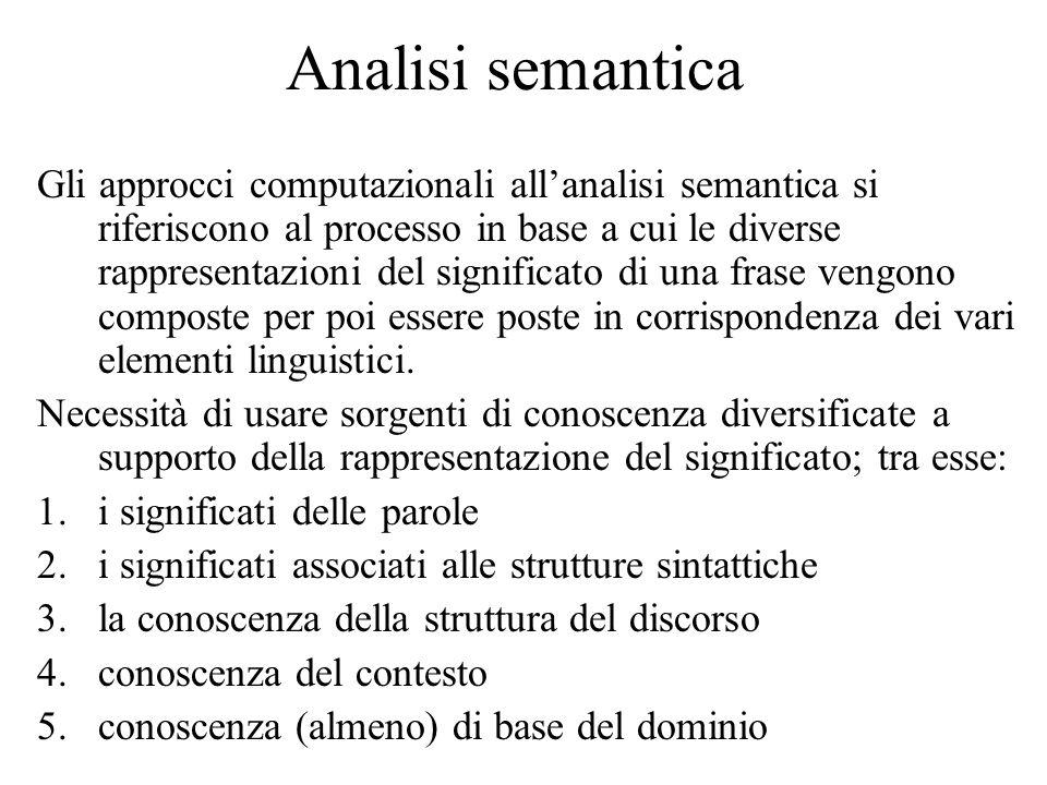 Analisi semantica Gli approcci computazionali allanalisi semantica si riferiscono al processo in base a cui le diverse rappresentazioni del significat