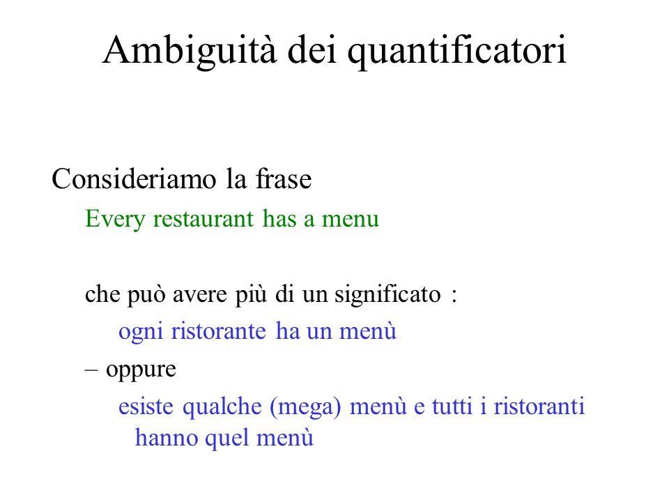 Ambiguità dei quantificatori Consideriamo la frase Every restaurant has a menu che può avere più di un significato : ogni ristorante ha un menù –oppur