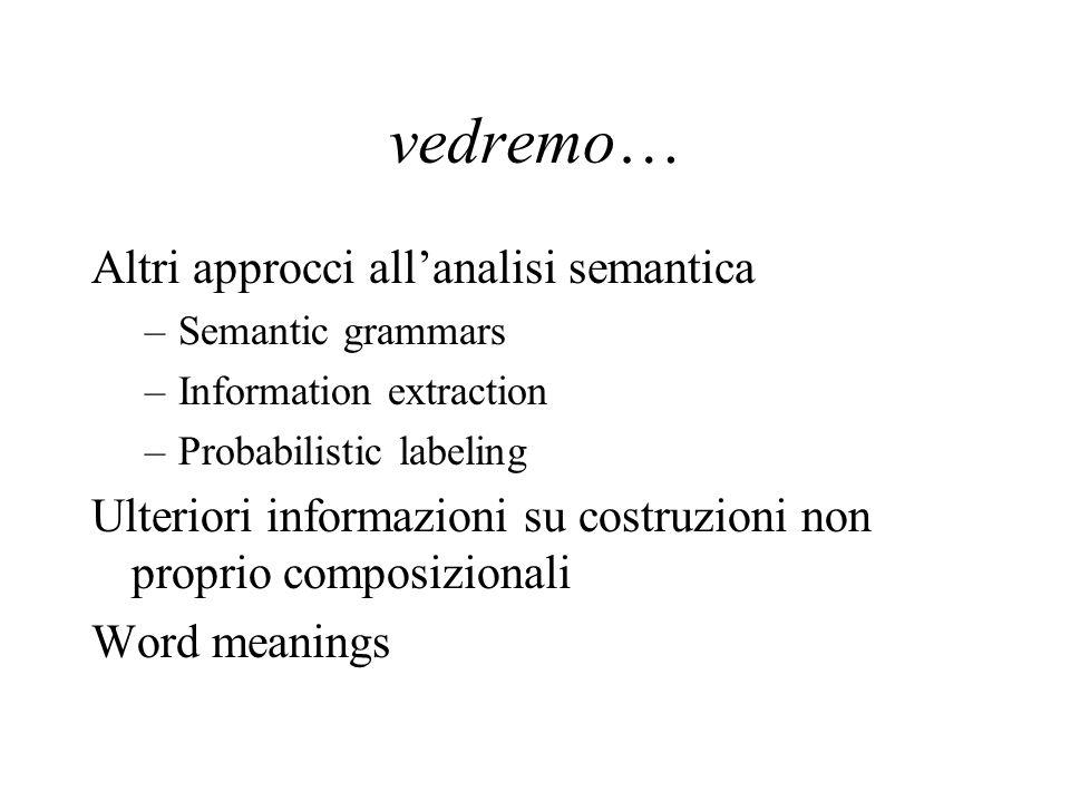 vedremo… Altri approcci allanalisi semantica –Semantic grammars –Information extraction –Probabilistic labeling Ulteriori informazioni su costruzioni