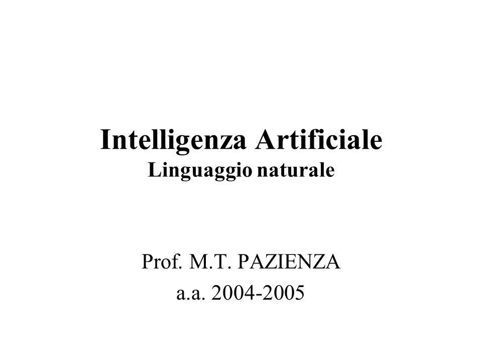 Intelligenza Artificiale Linguaggio naturale Prof. M.T. PAZIENZA a.a. 2004-2005