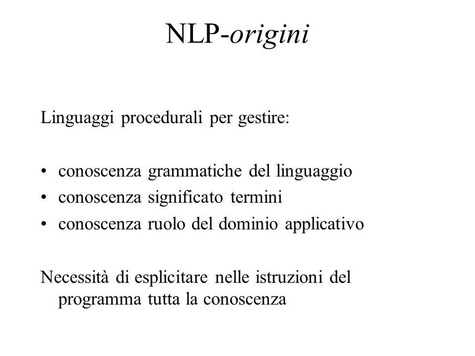 NLP-origini Linguaggi procedurali per gestire: conoscenza grammatiche del linguaggio conoscenza significato termini conoscenza ruolo del dominio appli