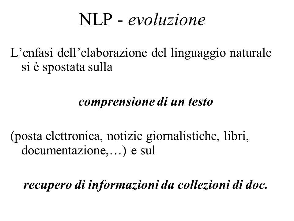 NLP - evoluzione Lenfasi dellelaborazione del linguaggio naturale si è spostata sulla comprensione di un testo (posta elettronica, notizie giornalisti
