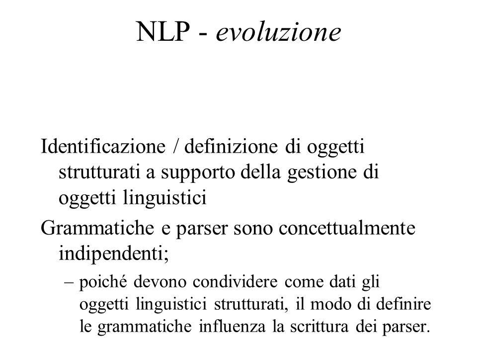 NLP - evoluzione Identificazione / definizione di oggetti strutturati a supporto della gestione di oggetti linguistici Grammatiche e parser sono conce