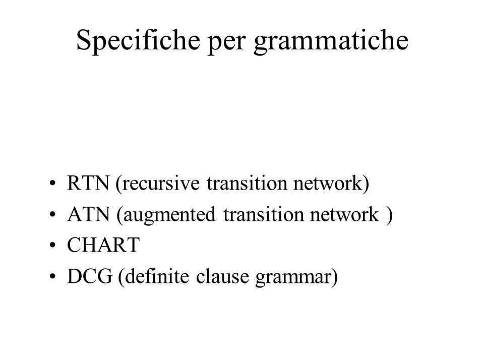 Specifiche per grammatiche RTN (recursive transition network) ATN (augmented transition network ) CHART DCG (definite clause grammar)
