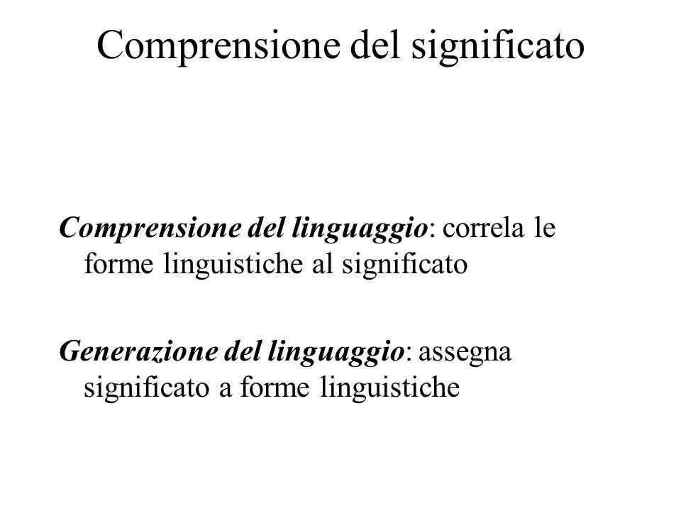 Comprensione del significato Comprensione del linguaggio: correla le forme linguistiche al significato Generazione del linguaggio: assegna significato