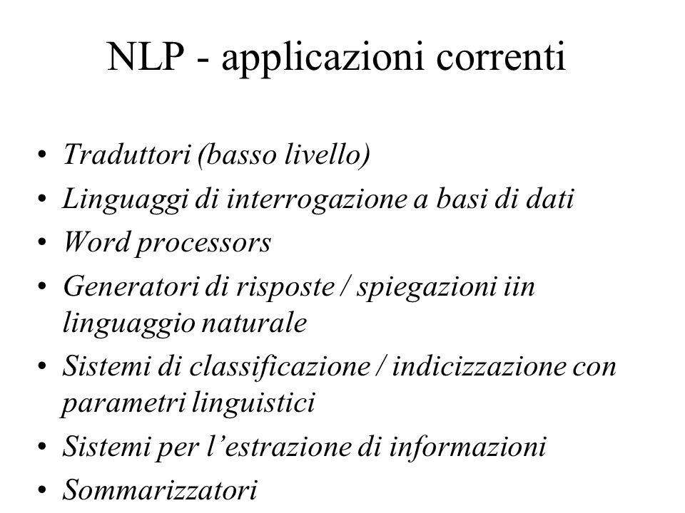 NLP - applicazioni correnti Traduttori (basso livello) Linguaggi di interrogazione a basi di dati Word processors Generatori di risposte / spiegazioni