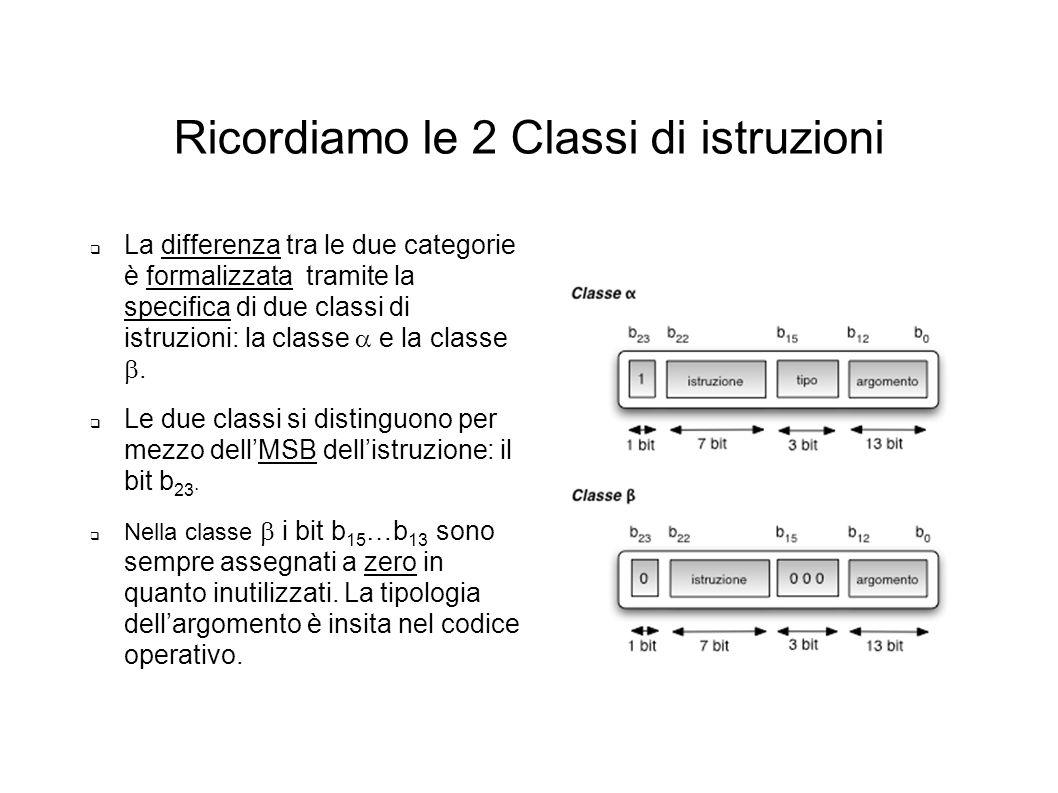 Ricordiamo le 2 Classi di istruzioni La differenza tra le due categorie è formalizzata tramite la specifica di due classi di istruzioni: la classe e l