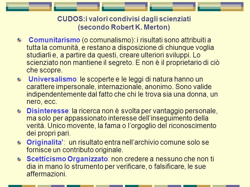 CUDOS:i valori condivisi dagli scienziati (secondo Robert K.