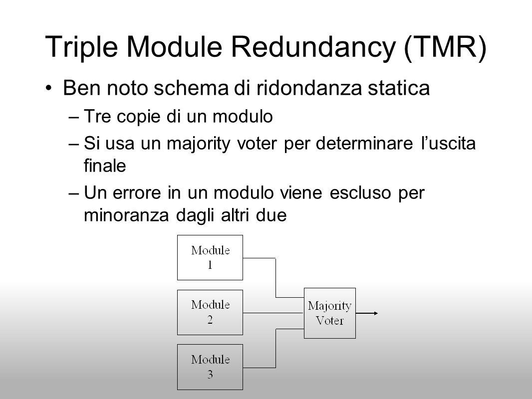 Triple Module Redundancy (TMR) Ben noto schema di ridondanza statica –Tre copie di un modulo –Si usa un majority voter per determinare luscita finale