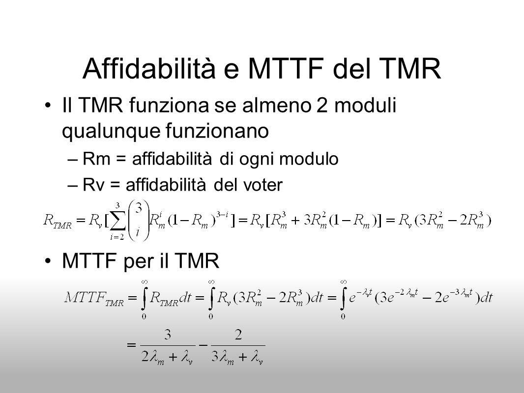 Affidabilità e MTTF del TMR Il TMR funziona se almeno 2 moduli qualunque funzionano –Rm = affidabilità di ogni modulo –Rv = affidabilità del voter MTT