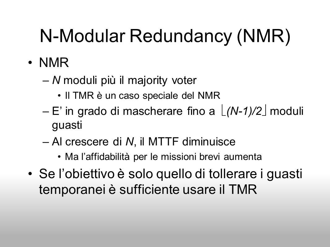 N-Modular Redundancy (NMR) NMR –N moduli più il majority voter Il TMR è un caso speciale del NMR –E in grado di mascherare fino a (N-1)/2 moduli guast