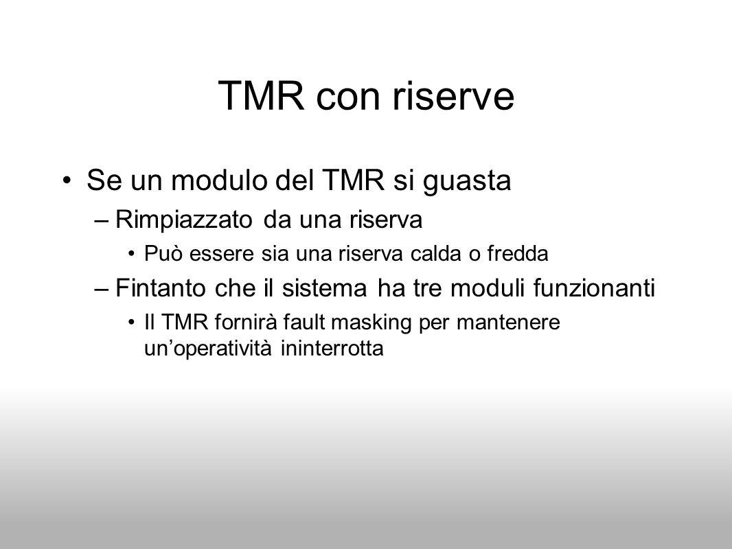 TMR con riserve Se un modulo del TMR si guasta –Rimpiazzato da una riserva Può essere sia una riserva calda o fredda –Fintanto che il sistema ha tre m