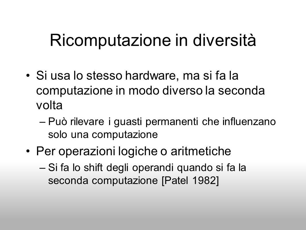 Ricomputazione in diversità Si usa lo stesso hardware, ma si fa la computazione in modo diverso la seconda volta –Può rilevare i guasti permanenti che