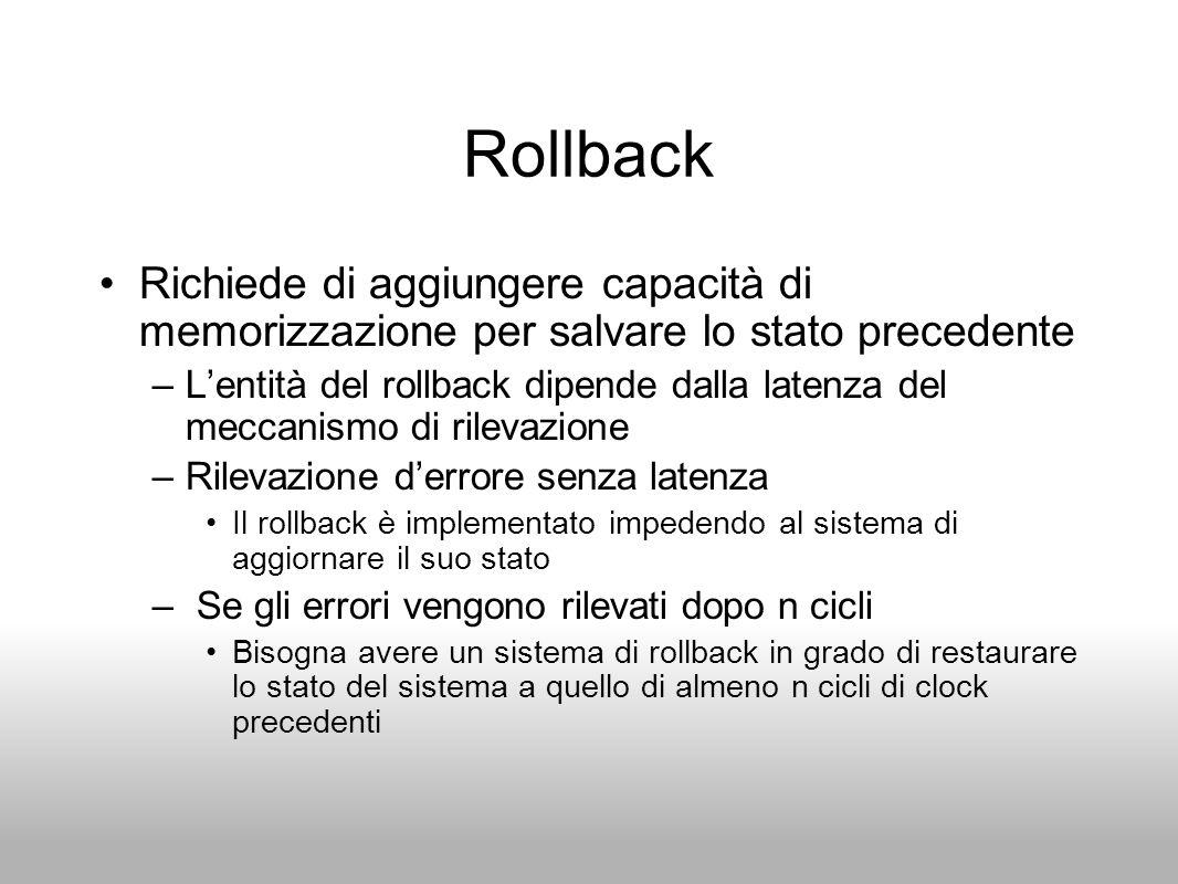 Rollback Richiede di aggiungere capacità di memorizzazione per salvare lo stato precedente –Lentità del rollback dipende dalla latenza del meccanismo