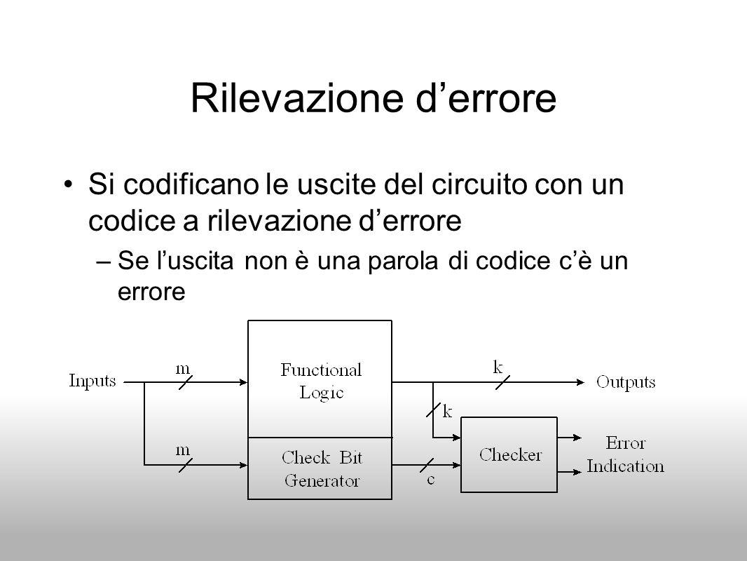 Rilevazione derrore Si codificano le uscite del circuito con un codice a rilevazione derrore –Se luscita non è una parola di codice cè un errore