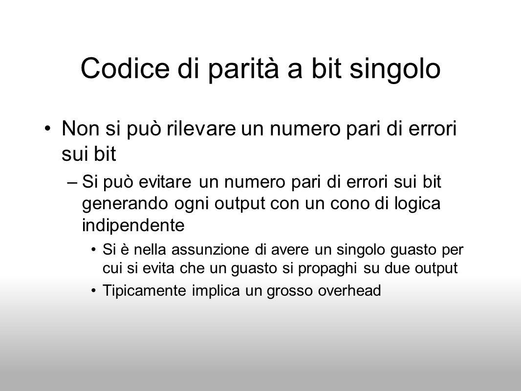 Codice di parità a bit singolo Non si può rilevare un numero pari di errori sui bit –Si può evitare un numero pari di errori sui bit generando ogni ou