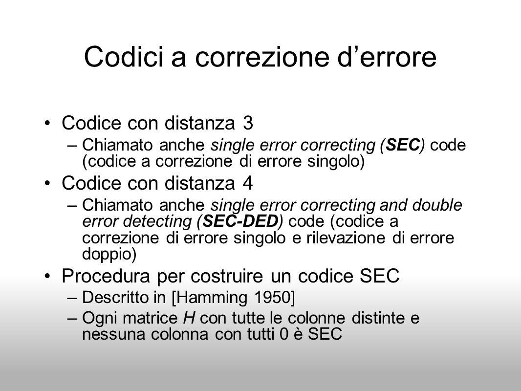 Codici a correzione derrore Codice con distanza 3 –Chiamato anche single error correcting (SEC) code (codice a correzione di errore singolo) Codice co