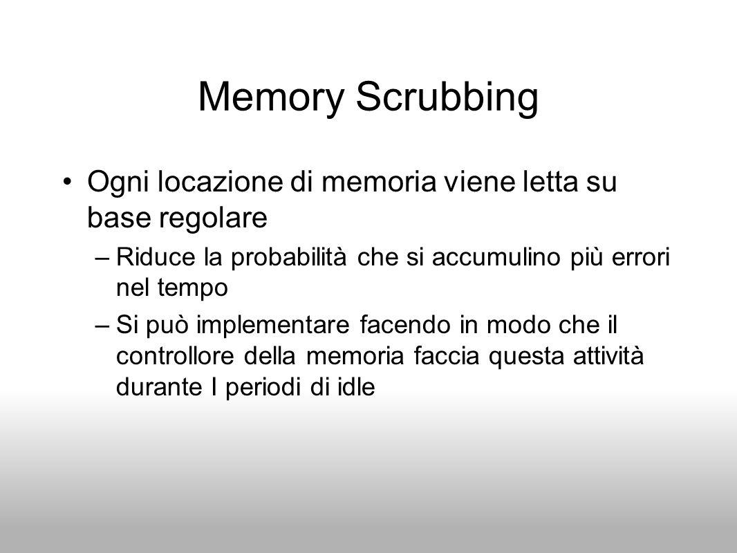 Memory Scrubbing Ogni locazione di memoria viene letta su base regolare –Riduce la probabilità che si accumulino più errori nel tempo –Si può implemen