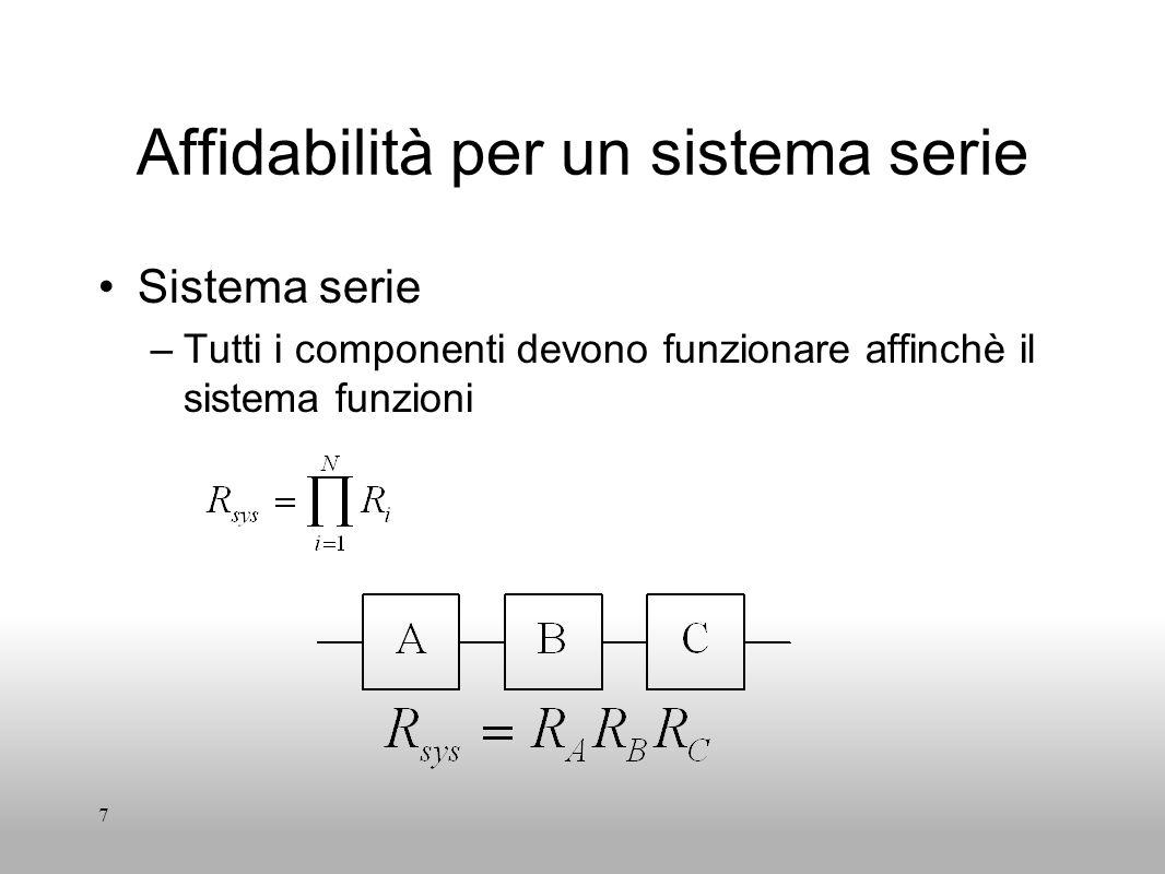 7 Affidabilità per un sistema serie Sistema serie –Tutti i componenti devono funzionare affinchè il sistema funzioni
