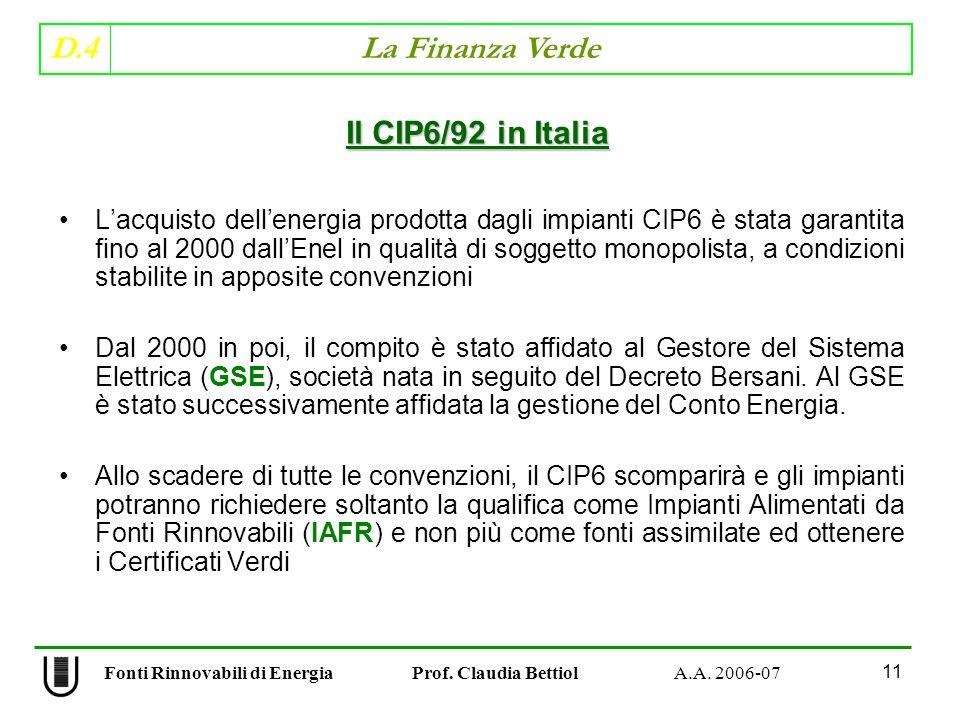 D.4 La Finanza Verde 11 Fonti Rinnovabili di Energia Prof.