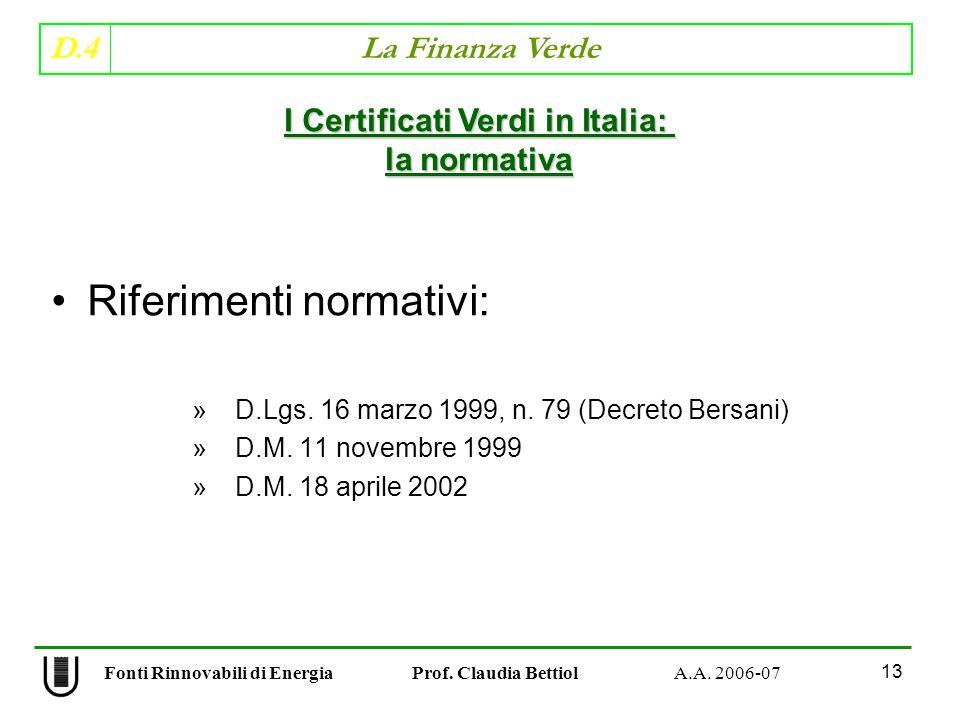 D.4 La Finanza Verde 13 Fonti Rinnovabili di Energia Prof.