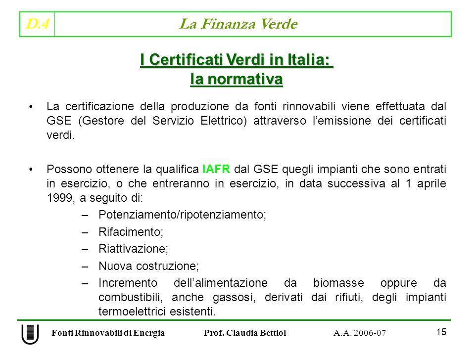 D.4 La Finanza Verde 15 Fonti Rinnovabili di Energia Prof.