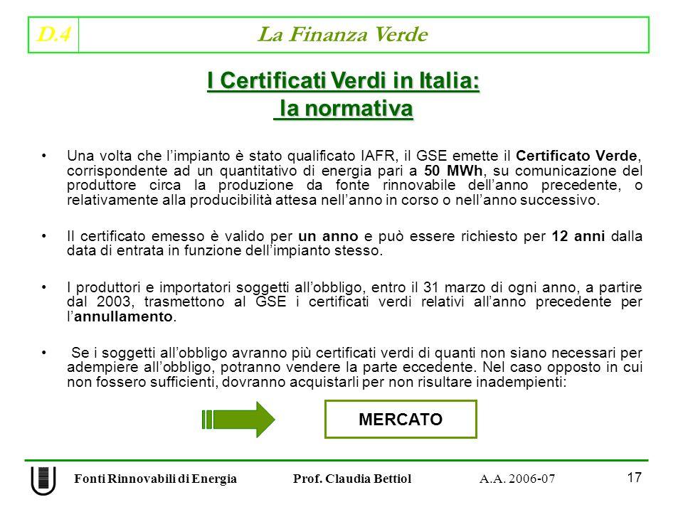 D.4 La Finanza Verde 17 Fonti Rinnovabili di Energia Prof.