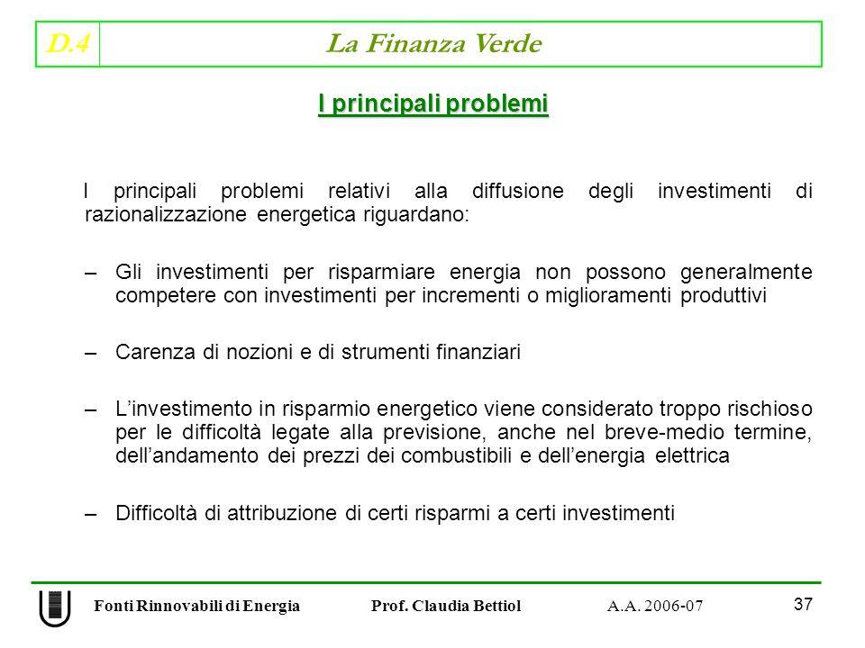 D.4 La Finanza Verde 37 Fonti Rinnovabili di Energia Prof.