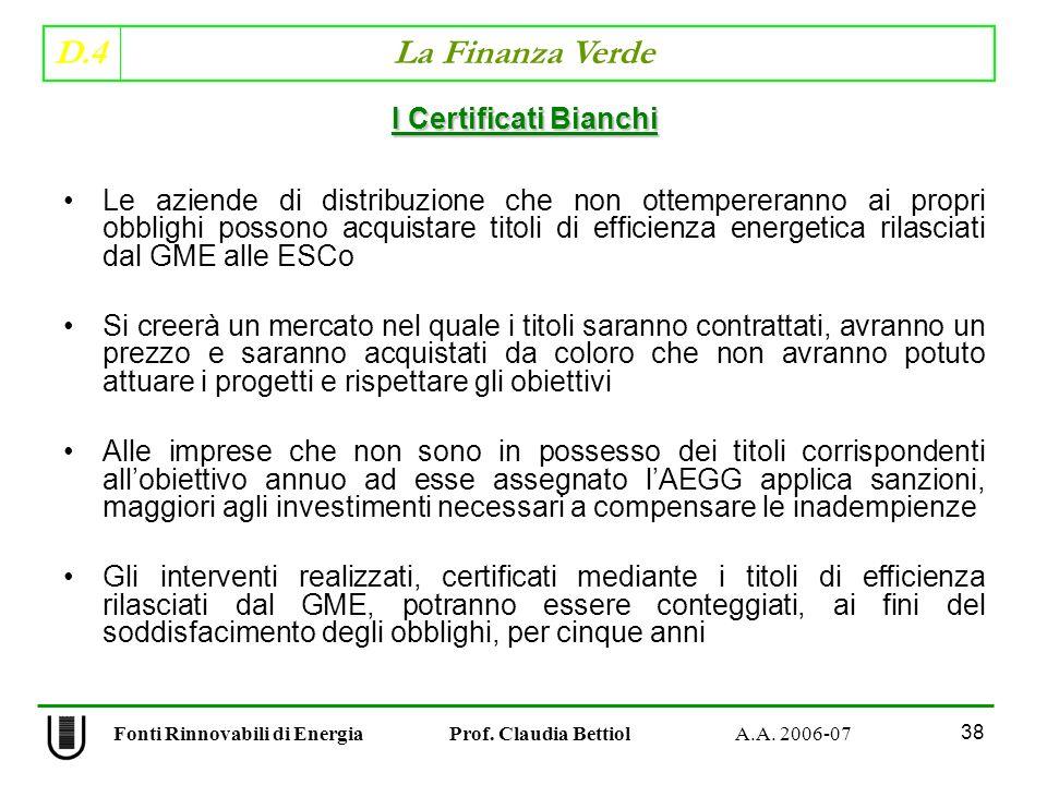 D.4 La Finanza Verde 38 Fonti Rinnovabili di Energia Prof.