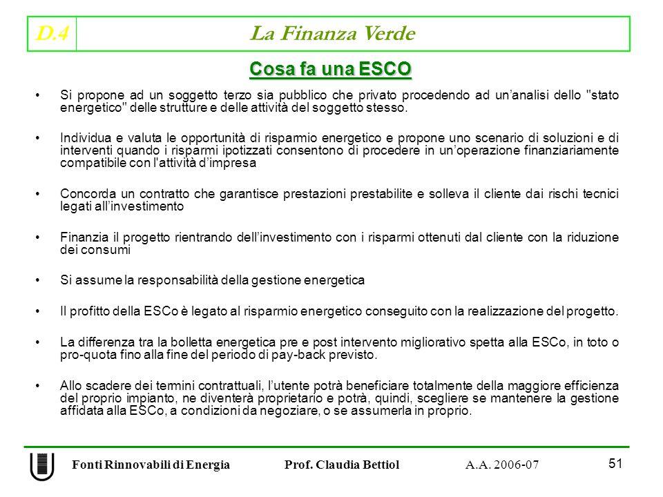 D.4 La Finanza Verde 51 Fonti Rinnovabili di Energia Prof.