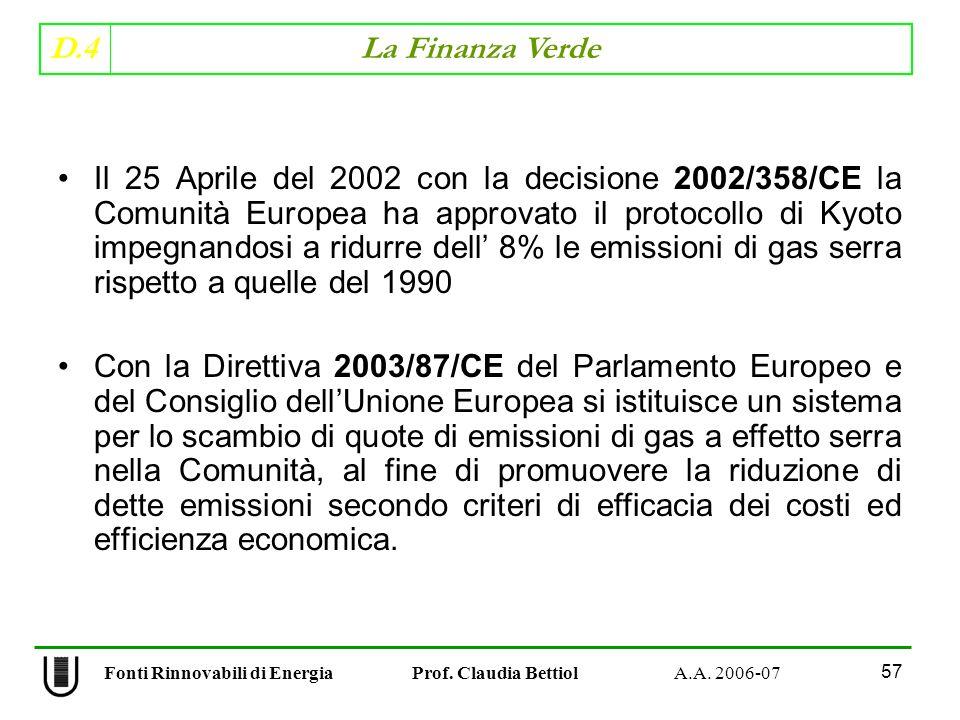 D.4 La Finanza Verde 57 Fonti Rinnovabili di Energia Prof.