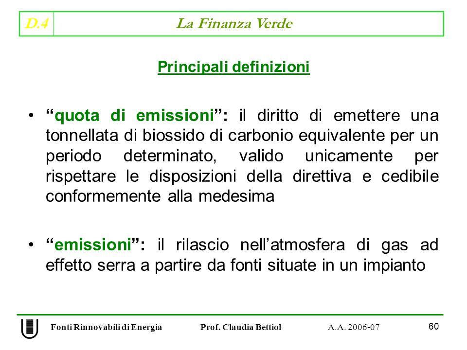 D.4 La Finanza Verde 60 Fonti Rinnovabili di Energia Prof.