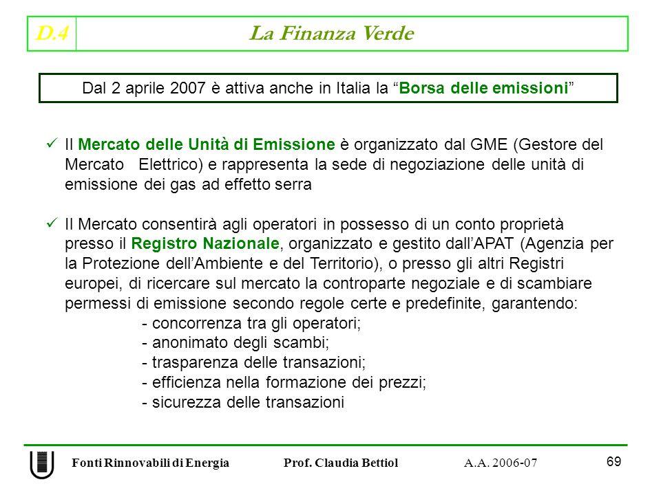 D.4 La Finanza Verde 69 Fonti Rinnovabili di Energia Prof.